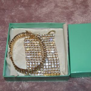 Sparkly Diamond Bracelet and Earring Set
